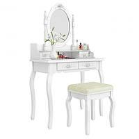 Туалетный столик Wooden Dresser C2 белый + табурет (3050)