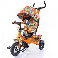 Велосипед детский трехколесный с крышей и надувными колесами TILLY Trike T-351-1 Orange (оранжевый)