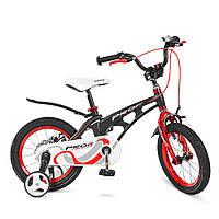Велосипед детский PROF1 14д.LMG14201   Infinity,магнез.рама,черно-красн(мат),звонок,доп.кол