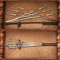 """Шампуры ручной работы с ручками из бронзы """"Мушкетёр"""" в кожаном колчане, креативный подарок богатому человеку"""