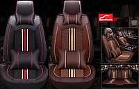 Чехлы Icarcoom на передние и задние сиденья Nissan Note - экокожа + ткань