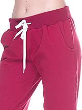 Штани жіночі спортивні на флісі, бордо, фото 3