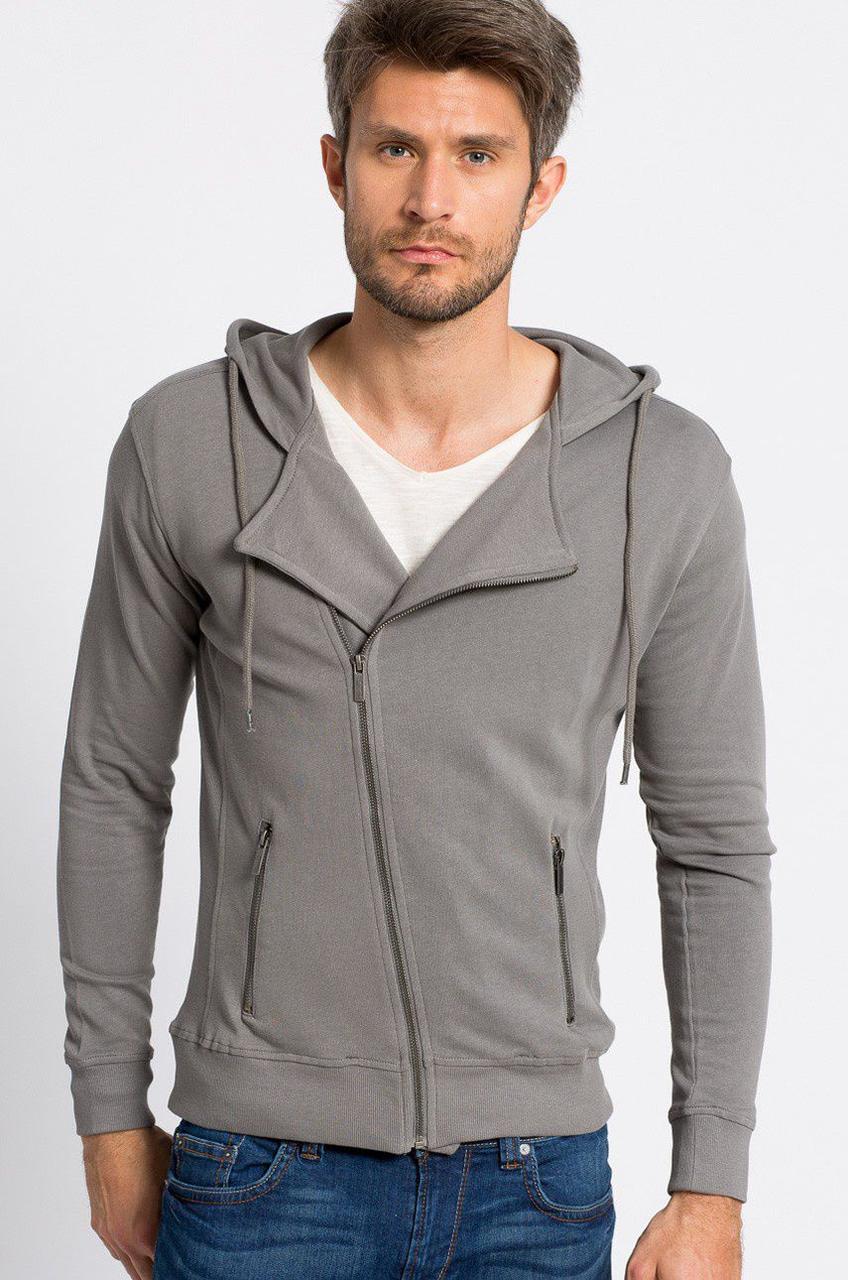 Блуза мужская серая с капюшоном