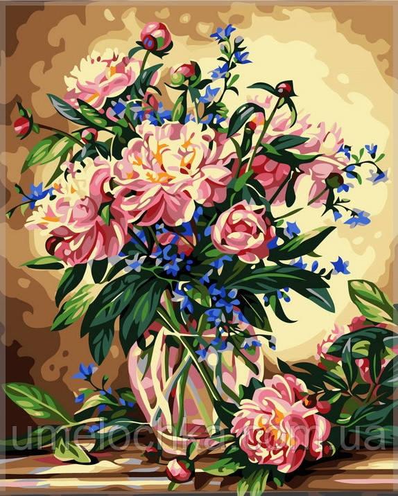 Картина по номерам Идейка Ваза с пионами и колокольчиками 50х40см Код:KH081