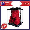 Красивый мишка из латексных 3D роз 25 см с лентой в подарочной коробке   Красный - Фото