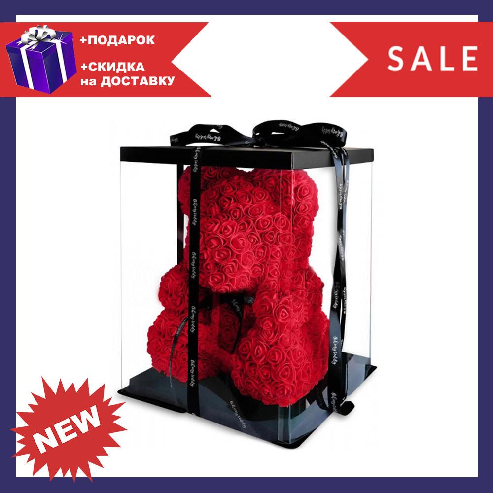 Красивый мишка из латексных 3D роз 25 см с лентой в подарочной коробке   Красный