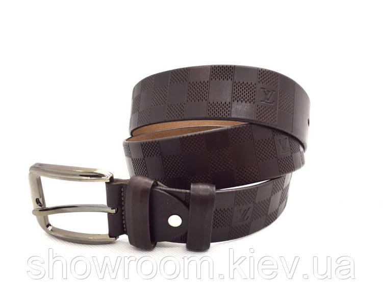 Мужской кожаный ремень LV (3001) коричневый