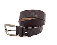 Мужской кожаный ремень LV (3001) коричневый, фото 1
