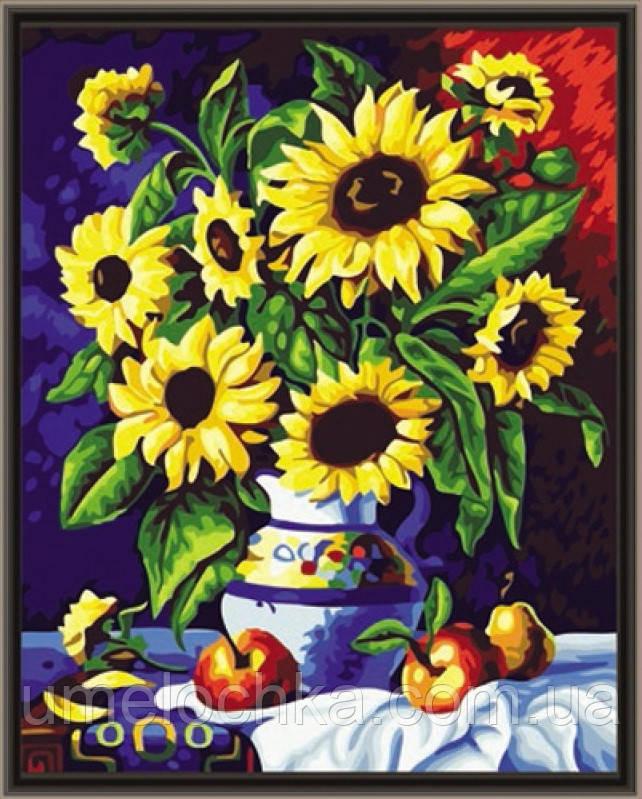 Раскраска по номерам Идейка Подсолнухи в вазе с яблоками 40х50см Код:KH088