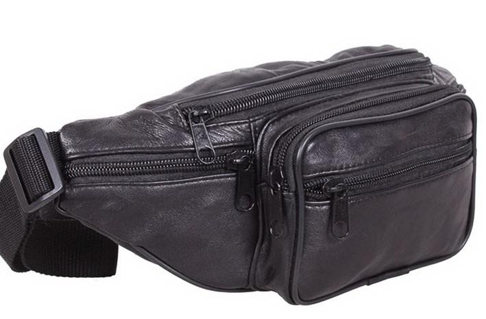 b3bdb0b5e37d Кожаная сумка мужская на пояс бананка поясная барсетка через плечо SW912  черная