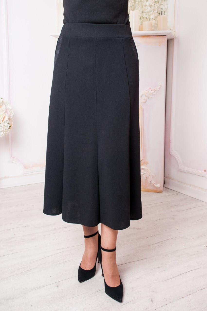 Женская юбка годе батал Тая чёрная