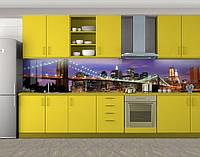 Кухонный фартук Мост ночного города, виниловая самоклеющаяся пленка, наклейка на кухню, скинали на стену, Фиолетовый, 600*3000 мм