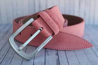 Розовый ремень женский замшевый кожаный 35 мм