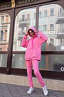 Модный женский спортивный костюм брюки на резинке свободная кофта с капюшоном розовый