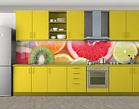 Грейпфрут, киви, цитрусовые, Пленка для кухонного фартука с фотопечатью, Еда, напитки, оранжевый