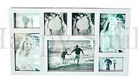 Рамка для фотографий на 7 фото, белая / фоторамка большая