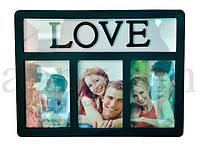 Фоторамка для влюбленных на 3 фото, черная / рамка для фотографий любовь
