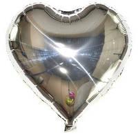 Шар фольгированный сердце СЕРЕБРО, 4 дюйма (12 см)