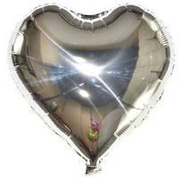 Куля фольгована серце СРІБЛО, 4 дюйма (12 см)