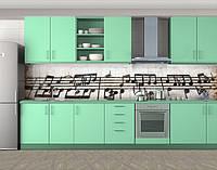 Винтажные ноты, Самоклеящаяся стеновая панель для кухни, Разное, бежевый