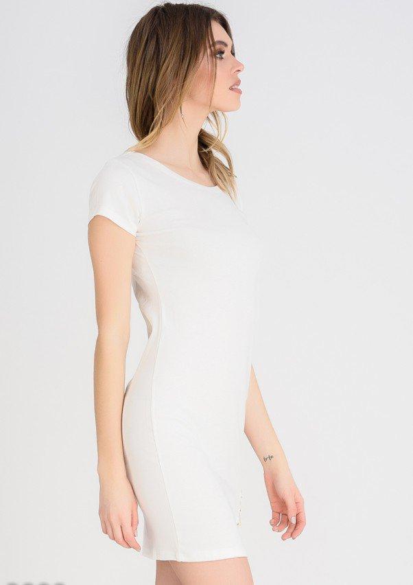6e540f9cc05 Платье Молочное платье-футболка со шнуровкой в тон на бедре (есть ...