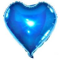 Куля фольгована серце СИНЄ, 4 дюйма (12 см)