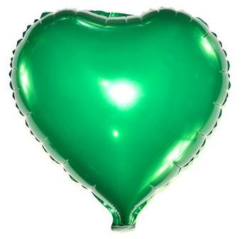 Шар фольгированный сердце ЗЕЛЕНОЕ, 4 дюйма (12 см)
