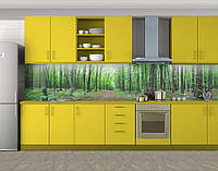 Лиственный лес весной, Защитная пленка на кухонный фартук с фотопечатью, Природа, зеленый