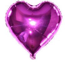 Куля фольгована серце МАЛИНОВЕ, 4 дюйма (12 см)