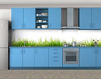 Зеленая трава на белом фоне, Наклейка на кухонный фартук, Разное, белый