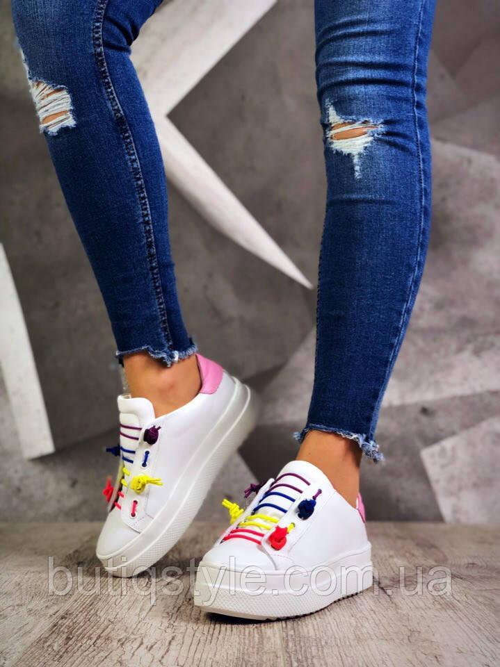 40 размер! Женские кеды  Extra белые с цветными шнурками натуральная кожа, весна 2019