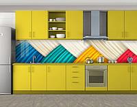 Ткань Шелк, Наклейка на кухонный фартук, Абстракции, бежевый