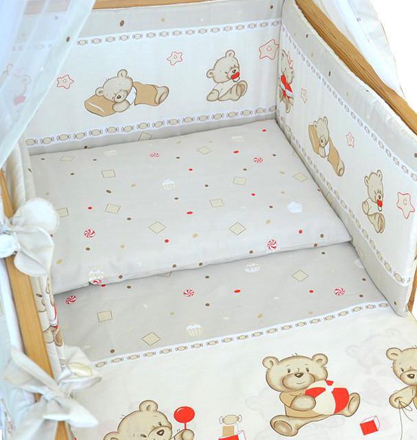 Комплект постельного белья в детскую кроватку Мишка с игрушкой бежевый 3 элементов (МАЛЕНЬКИЙ ПОДОДЕЯЛЬНИК)