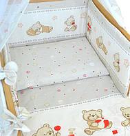 Комплект постельного белья в детскую кроватку Мишка с игрушкой бежевый 3 элементов (МАЛЕНЬКИЙ ПОДОДЕЯЛЬНИК), фото 1
