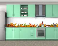 Кленовые листья, Защитная пленка на кухонный фартук с фотопечатью, Природа, белый