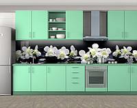 Белые орхидеи, Кухонный фартук на самоклеящееся пленке с фотопечатью, Цветы, черный