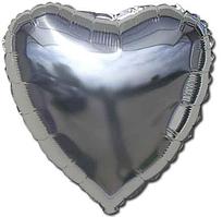 Шар фольгированный сердце СЕРЕБРО, 18 дюймов (44 см)