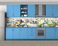 Клумба ромашек, Кухонный фартук на самоклеящейся пленке с фотопечатью, Цветы, белый