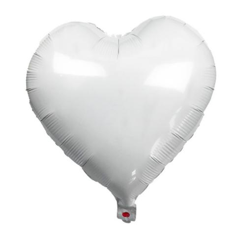 Шар фольгированный сердце БЕЛОЕ, 18 дюймов (44 см)