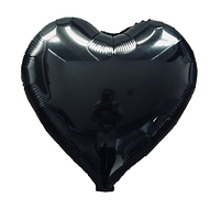 Куля фольгована серце ЧОРНЕ, 18 дюймів (44 см)