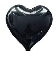 Шар фольгированный сердце ЧЕРНОЕ, 18 дюймов (44 см)