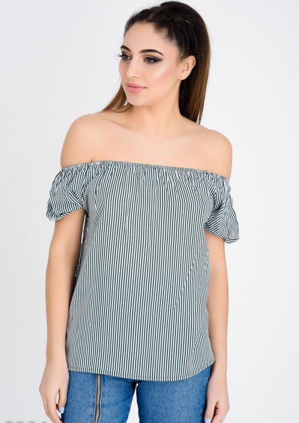 8b1cc94c4a0 Зеленая блуза с открытыми плечами в тонкую белую полоску (есть размеры) -  FashionLike в