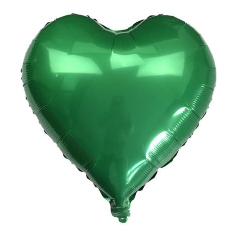 Шар фольгированный сердце ЗЕЛЕНОЕ, 18 дюймов (44 см)