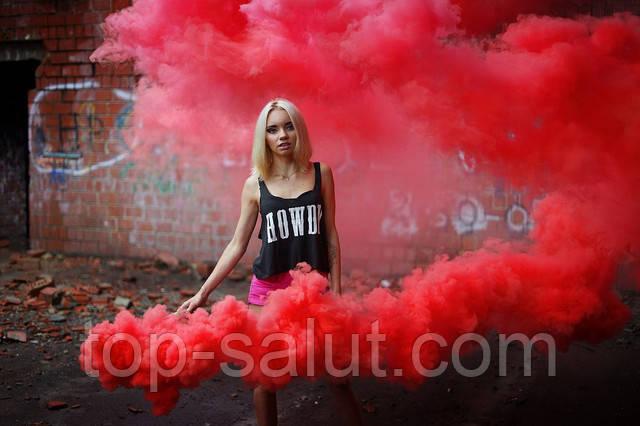 Цветной дым красный (дымный факел)