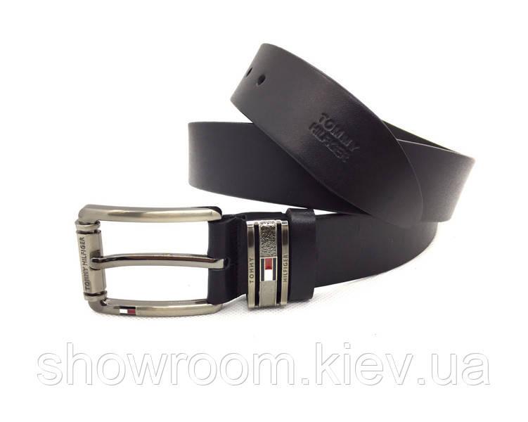 Мужской кожаный брендовый ремень Tommy Hilfiger (040) черный