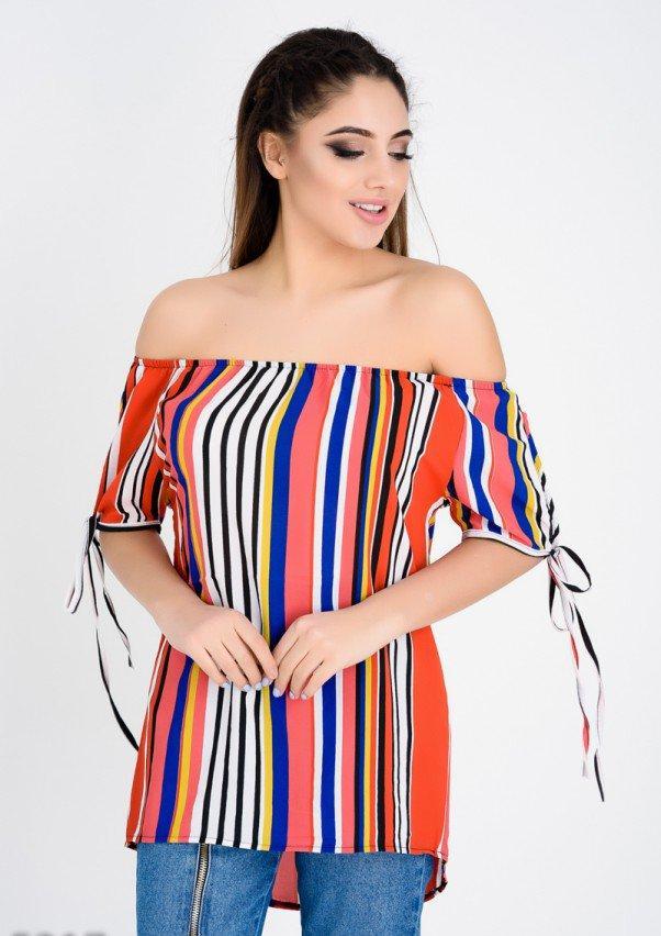 012e9fae8b6 Цветная с белыми полосами блузка с открытыми плечами (есть размеры ...