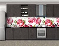 Винтажные пионы, Фотопечать кухонного фартука на самоклейке, Цветы, красный