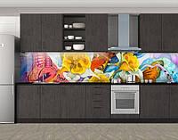 Батик Бабочки и цветы, Наклейка на кухонный фартук, Текстуры, фоны, желтый