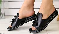 Шлепанцы с кисточкой кожаные черные, фото 1