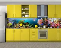 Аквариум, подводный мир, Кухонный фартук на самоклеящееся пленке с фотопечатью, рыбы, синий